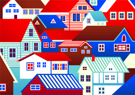 Colorful houses drew in cartoon style.