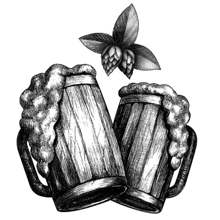 Beer mugs composition drew with etched effect. Black and white image, isolated on white background.