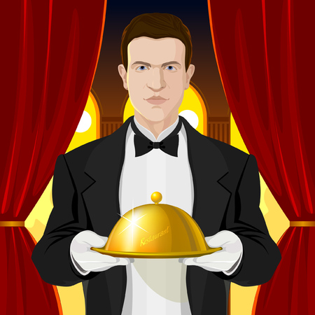 The waiter in black suit hold the waiter in the arms. Red curtain and light filled interior behind Vector Illustration