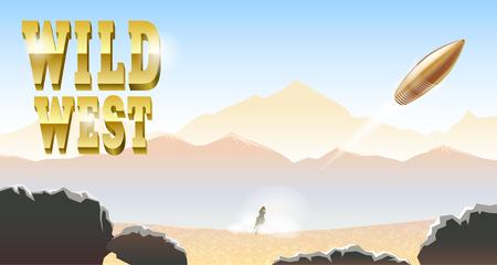 Desert horse rider beyond. Vector illustration. Mountains, stones and dusty air. Flying shot bullet. Çizim