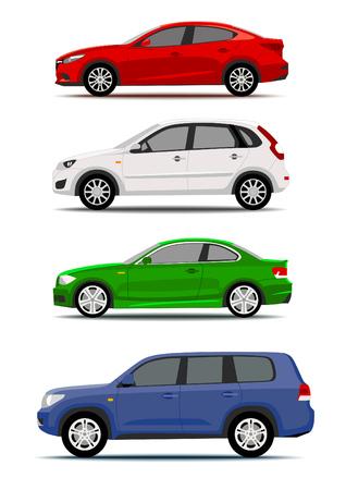 Kolekcja kolorowych samochodów na białym tle. Projekt ikony lub etykiety