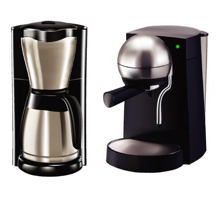 Twee koffiezetapparaat model. Gepolijst oppervlak, zwarte basis