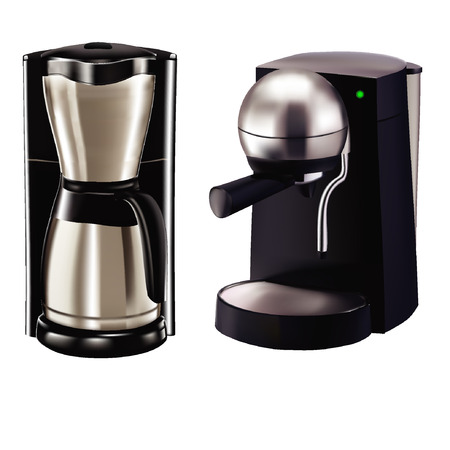 Two coffee maker model. Polished surface, black base