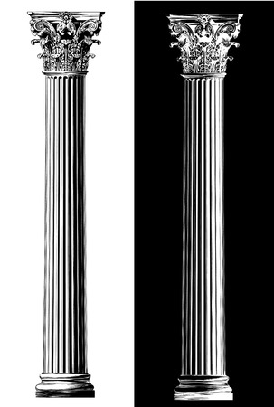 Corinthian column. Black and white sketch style