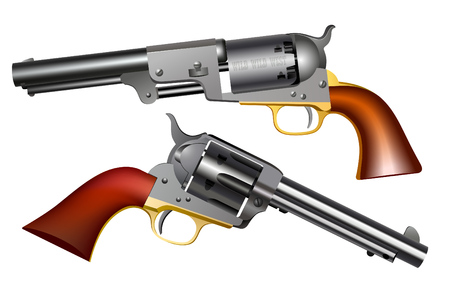 Wild west hand guns. Realistic images on white background.