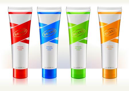 Designvorlage für Tubenbehälter. Bunte Etiketten. Behälter sind für Schönheits- oder Hautpflegeprodukte. Vektorgrafik