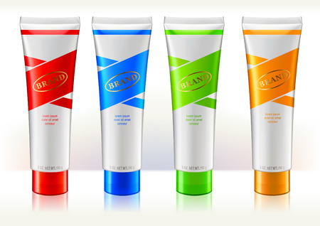 Tube conteiners design template. Colorful labels. Containers are for beauty or skin care products. Vetores