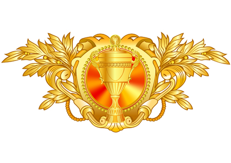 Heraldic decorative label with floral elements.