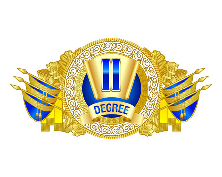 Heraldic decorative label of second degree. Blue and golden colors decorated. For diploma or certificates.