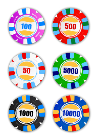 Colorful poker chips collection.
