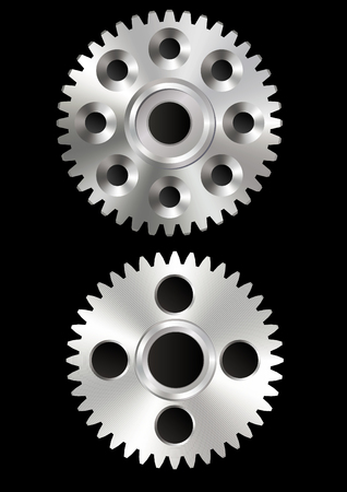 Metal gears on the black background Vektorgrafik