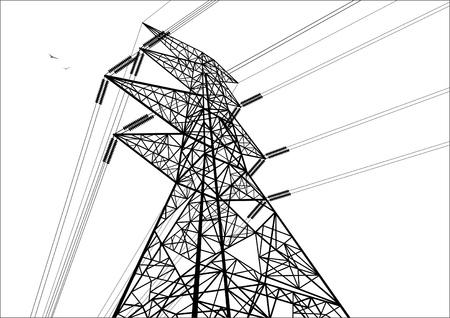 Budowa linii energetycznych. Obraz narysowany linią. Ilustracje wektorowe