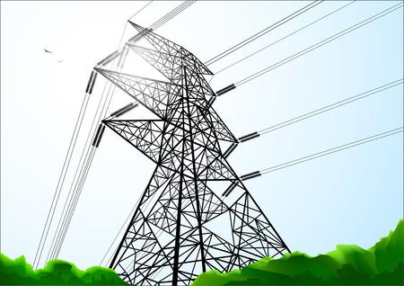 Construction de ligne électrique ombrée de couleurs
