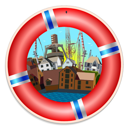 Red life buoy with seaport illustration in the center. Colorful label desing Ilustrace