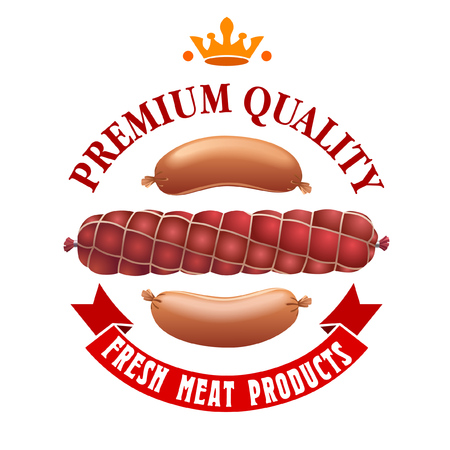 Meat products label design. It can be used as a signature for the meat product industry.