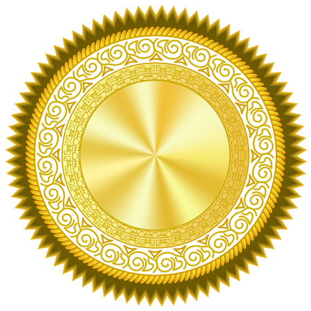 Gold plated medal pattern with polished gloss effect 写真素材 - 122819990