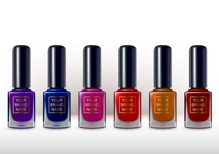 Realistic nail polish container collection. Different color gamma  イラスト・ベクター素材