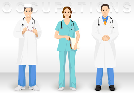 Medical ocupation. People character icons show dress medical officer.