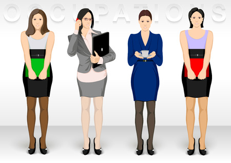 Business ocupation. Women character icons show dress office variations.