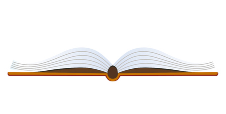 Open book icon. Front view. Isilated on white