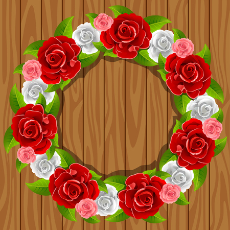 Wreath with red roses on the wood texture. Greeting card template