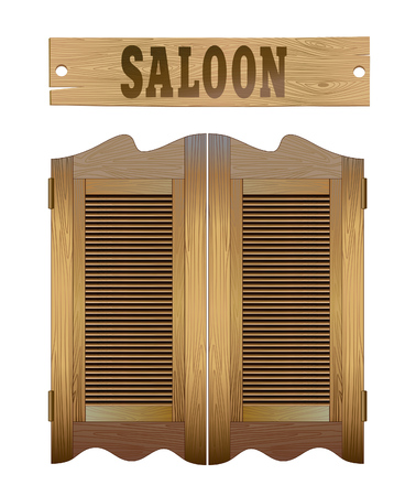 Saloon doors and signboard above. Design image elements isolatted on white. Illustration