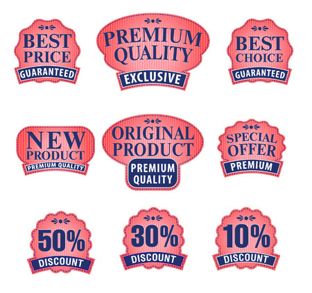 Collection of Premium and High Quality labels for traders or consumers Stockfoto - 122820056
