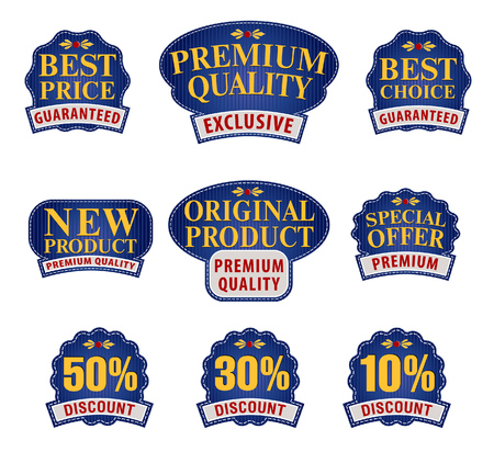 Collection of Premium and High Quality labels for traders or consumers Stockfoto - 122820057