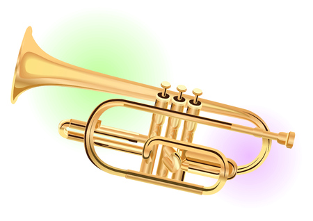 Realistic drawn trumpet, colored blots behind. White background Vetores