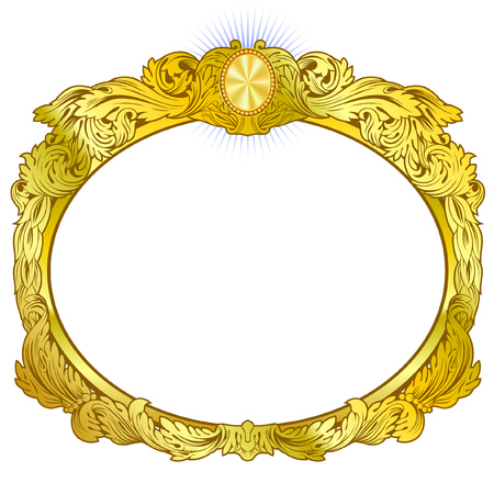 Round decorative frame. Baroque golds style. Banque d'images - 122820089