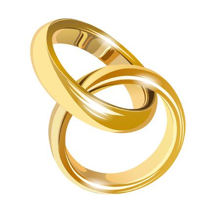 Anillos de oro de boda aislados en blanco Ilustración de vector