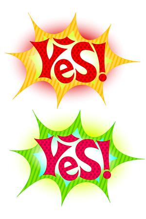 Yes! cartoon style icon. Star shape isolated on white Stock Illustratie