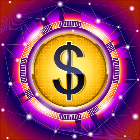 Colorful label with world currency symbol. Splash screen design