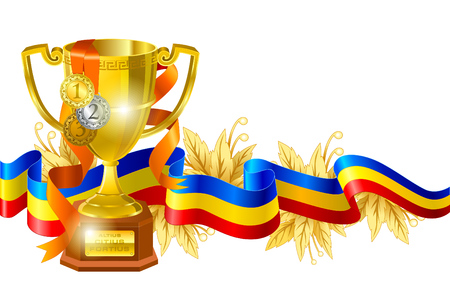 Sport competition award composition. Gold cup wrapped