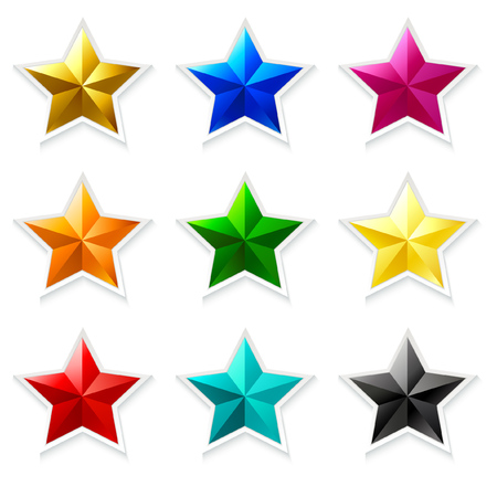 Colorful stars icon collection with 3D effect isolated on white Ilustrace