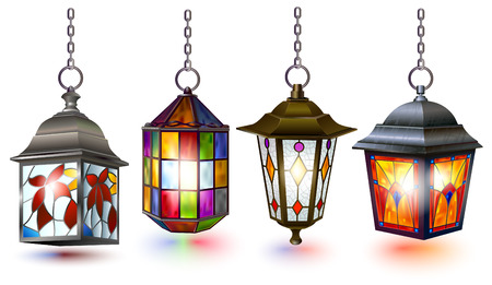 Colorful vintage street lamp collection isolated on white. Stained glass imitation texture of the image decoration.
