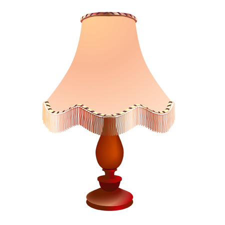 Table lamp with lampshade isolated on white