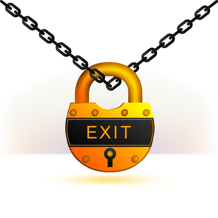 The yellow lock on the chain. Exit word is on. Ilustrace