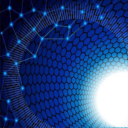 Blue background of technological subject. Blue point on the polygonal mosaic vertex. Иллюстрация
