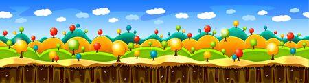 Wide seamless background with fantasy landscape. Cartoon atrwork style