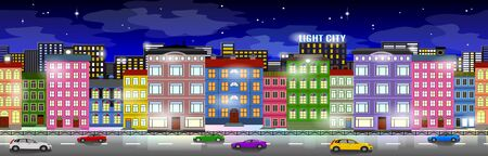 Colorful background design, urban effect, light effects on. Architecture stylized objects are on deep blue background Ilustração