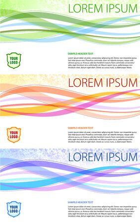 Colorful background set. Simple wave shapes and text area.