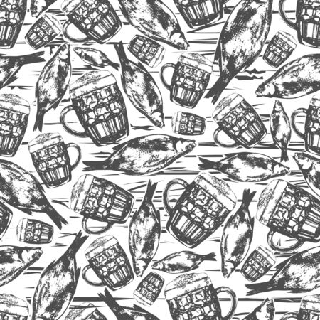 Beer party seamless pattern. Sketch hand drawn illustration.