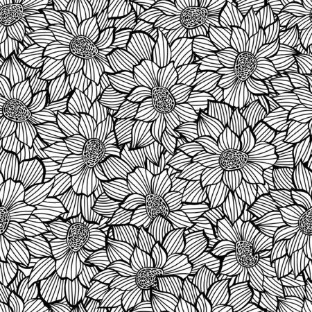 Floristic seamless pattern. High detailed texture or black and white color Ilustração