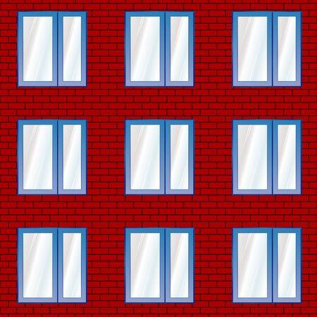 Seamless pattern. Window on the brick wall fragment. Ilustração