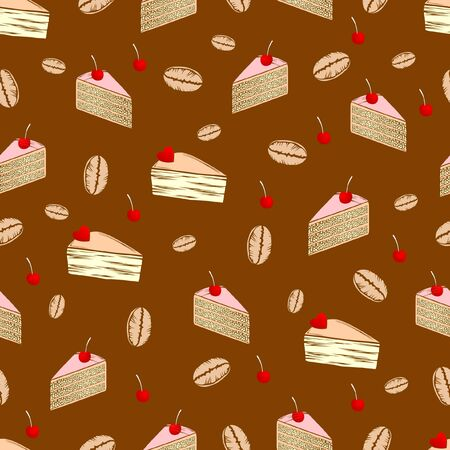Seamless patten with cakes, berries and coffee seeds. Ilustração