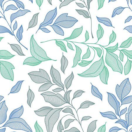 Seamless line art pattern of floral motifs. Print fabric texture design. Ilustração