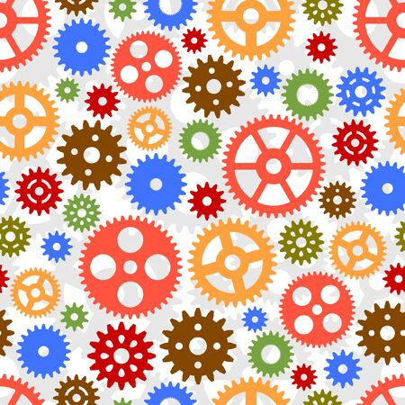 Seamless pattern with colorful gears.