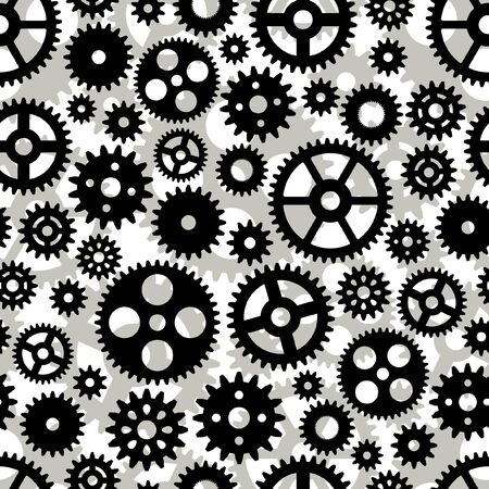 Seamless pattern with black and white gears.