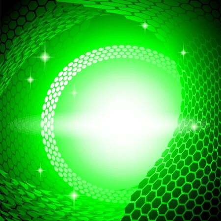 Green background of technological subject. Glow effect in the composition center